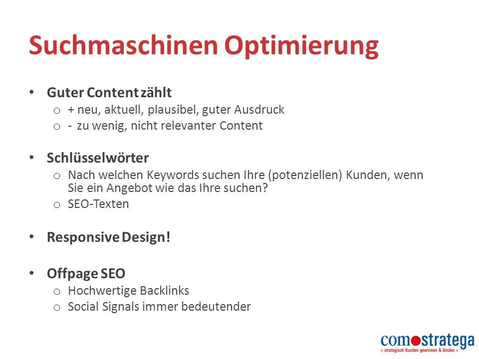Guter Content zählt o + neu, aktuell, plausibel, guter Ausdruck o - zu wenig, nicht relevanter Content Schlüsselwörter o Nach welchen Keywords suchen Ihre (potenziellen) Kunden, wenn Sie ein Angebot wie das Ihre suchen.