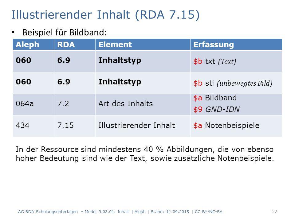 Illustrierender Inhalt (RDA 7.15) AG RDA Schulungsunterlagen – Modul 3.03.01: Inhalt | Aleph | Stand: 11.09.2015 | CC BY-NC-SA 22 AlephRDAElementErfas