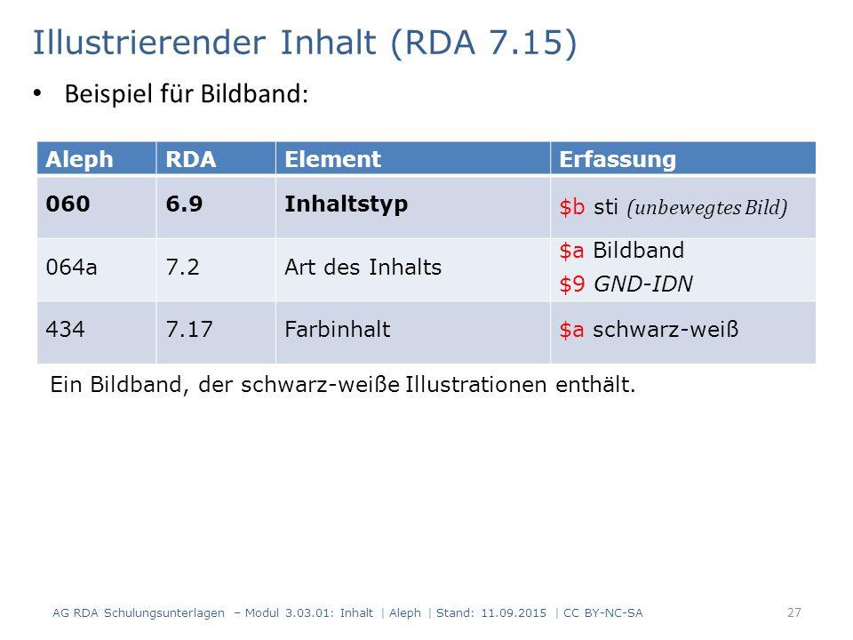 Illustrierender Inhalt (RDA 7.15) AG RDA Schulungsunterlagen – Modul 3.03.01: Inhalt | Aleph | Stand: 11.09.2015 | CC BY-NC-SA 27 AlephRDAElementErfas