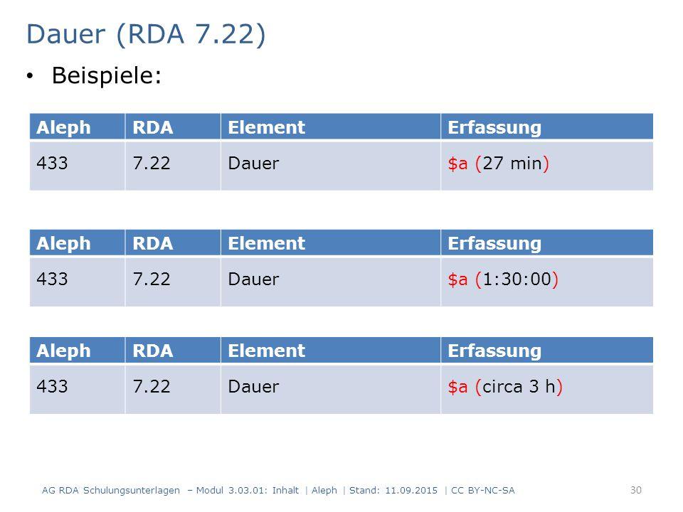 Dauer (RDA 7.22) AG RDA Schulungsunterlagen – Modul 3.03.01: Inhalt | Aleph | Stand: 11.09.2015 | CC BY-NC-SA 30 AlephRDAElementErfassung 4337.22Dauer