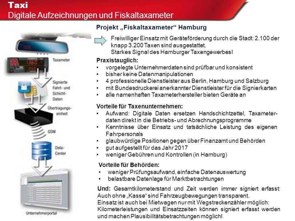 """Taxi Digitale Aufzeichnungen und Fiskaltaxameter Projekt """"Fiskaltaxameter"""" Hamburg Freiwilliger Einsatz mit Geräteförderung durch die Stadt: 2.100 der"""