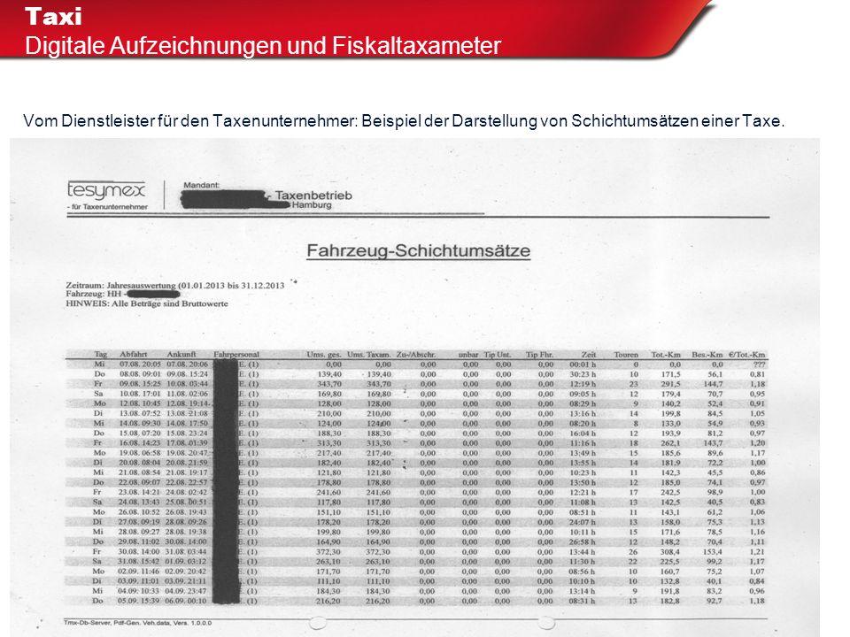 Vom Dienstleister für den Taxenunternehmer: Beispiel der Darstellung von Schichtumsätzen einer Taxe. Taxi Digitale Aufzeichnungen und Fiskaltaxameter