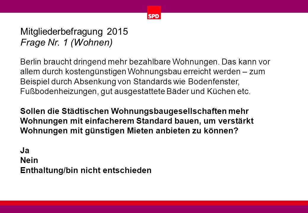 Mitgliederbefragung 2015 Frage Nr. 1 (Wohnen) Berlin braucht dringend mehr bezahlbare Wohnungen.