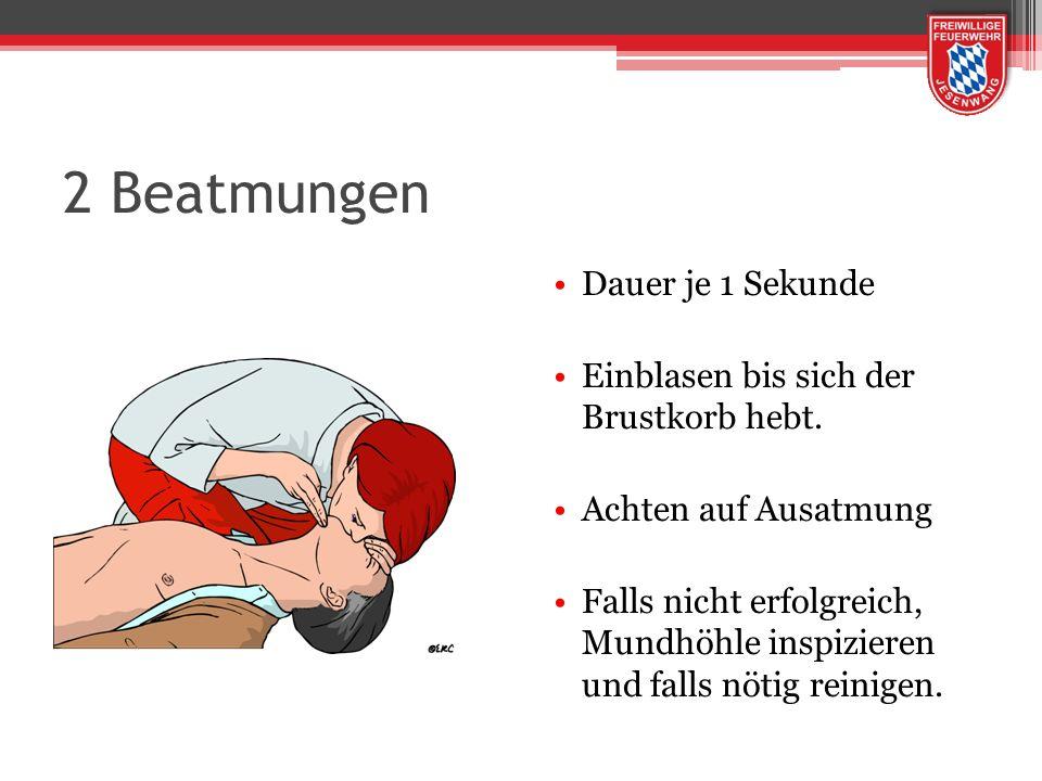 2 Beatmungen Dauer je 1 Sekunde Einblasen bis sich der Brustkorb hebt. Achten auf Ausatmung Falls nicht erfolgreich, Mundhöhle inspizieren und falls n