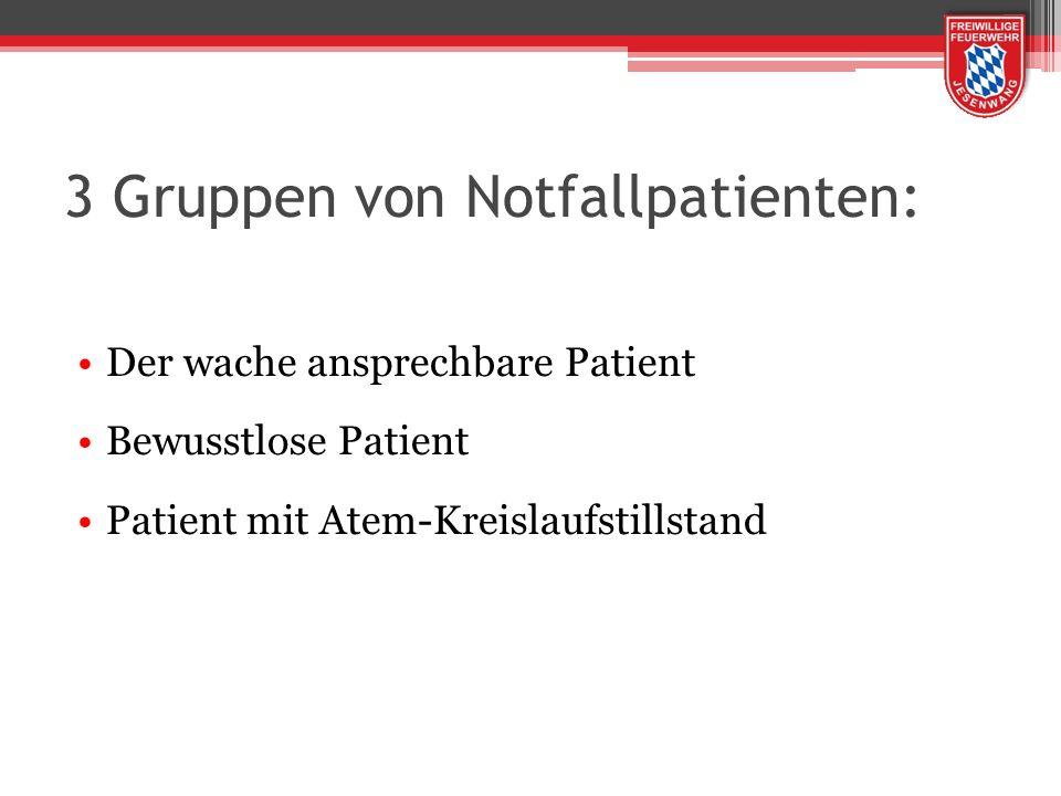 3 Gruppen von Notfallpatienten: Der wache ansprechbare Patient Bewusstlose Patient Patient mit Atem-Kreislaufstillstand