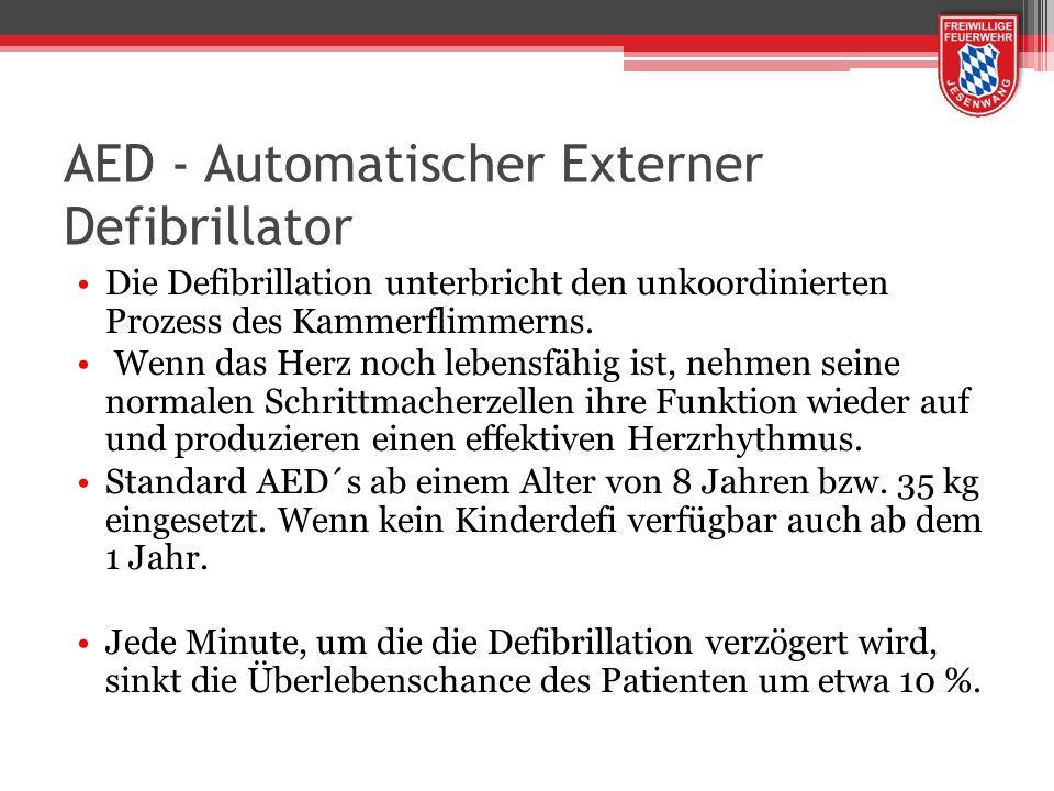 AED - Automatischer Externer Defibrillator Die Defibrillation unterbricht den unkoordinierten Prozess des Kammerflimmerns. Wenn das Herz noch lebensfä
