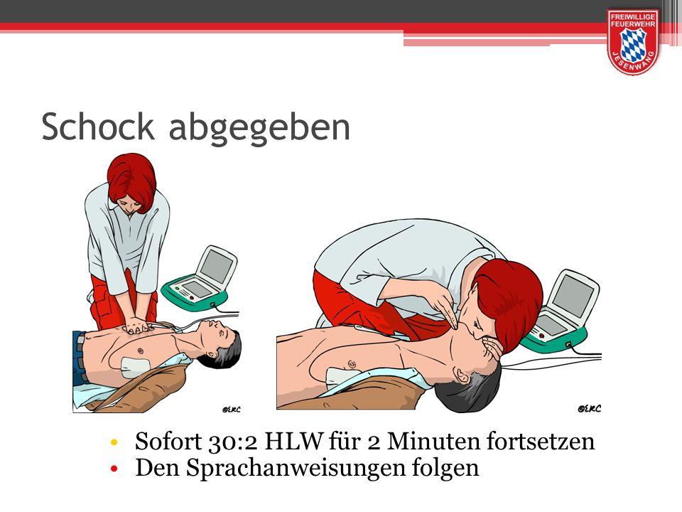 Schock abgegeben Sofort 30:2 HLW für 2 Minuten fortsetzen Den Sprachanweisungen folgen