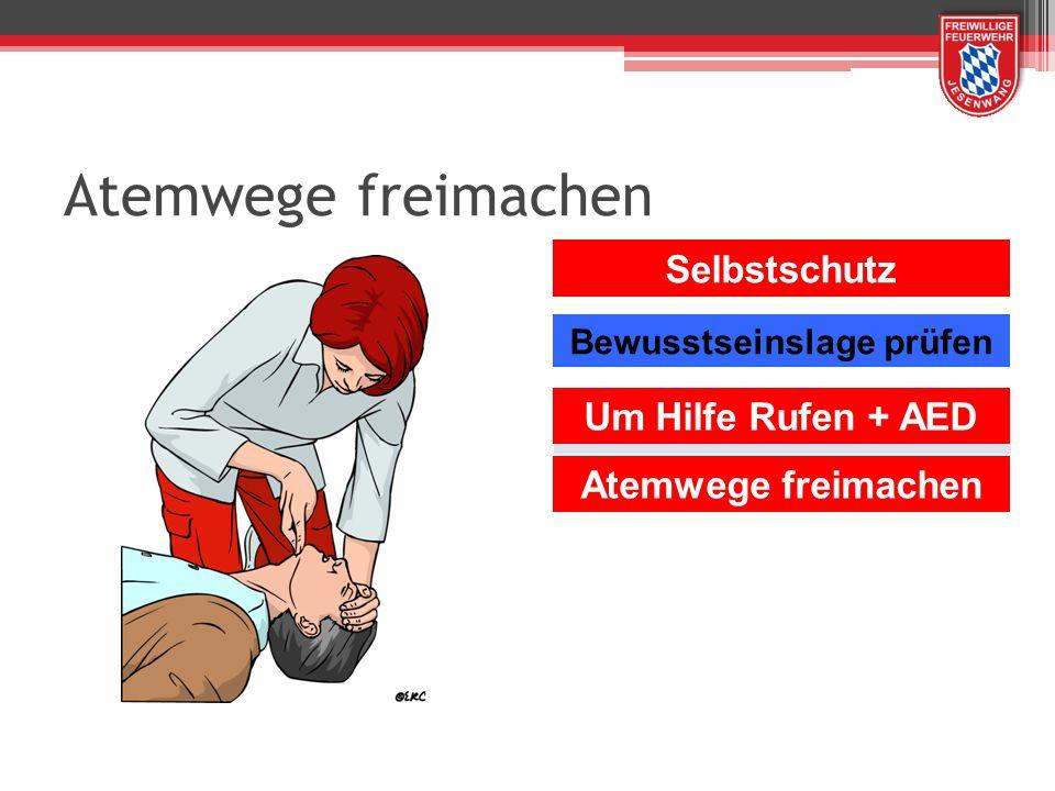Atemwege freimachen Selbstschutz Um Hilfe Rufen + AED Atemwege freimachen Bewusstseinslage prüfen
