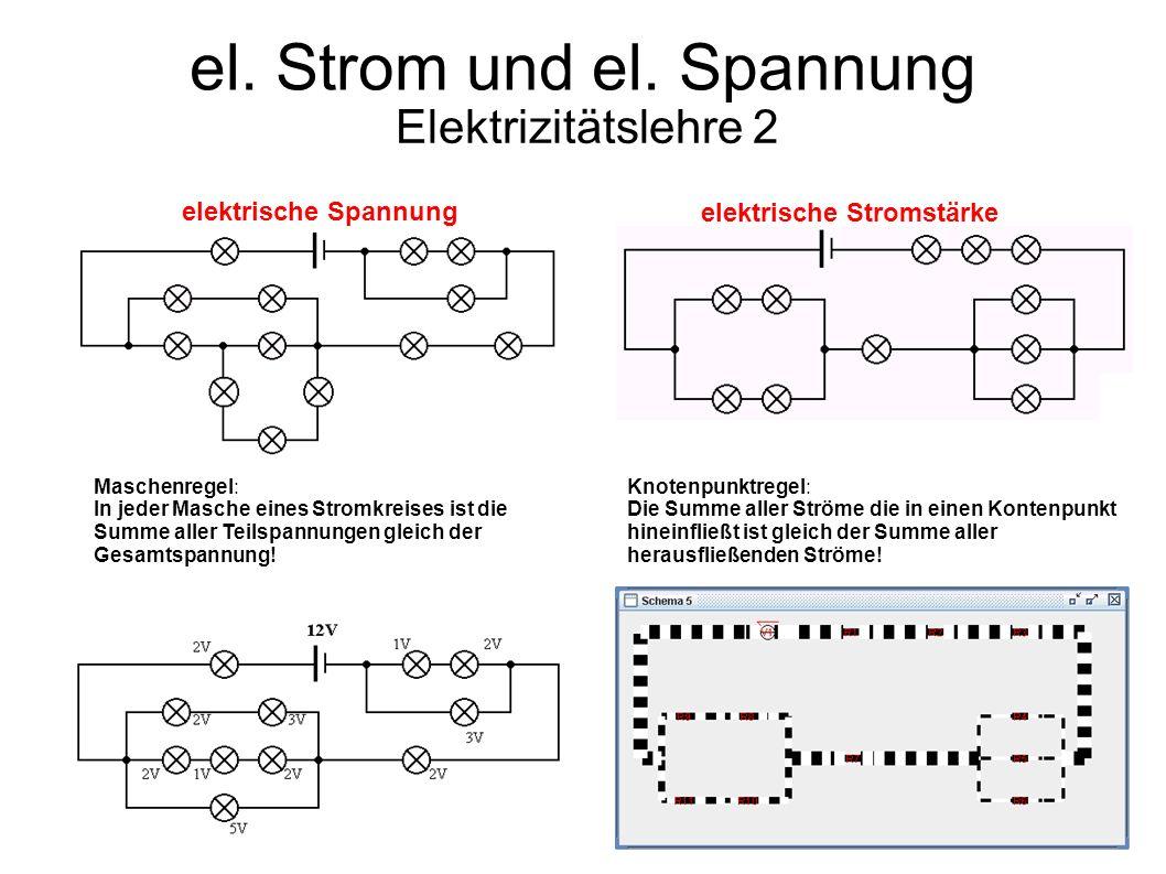 el. Strom und el. Spannung Elektrizitätslehre 2 elektrische Spannung elektrische Stromstärke Maschenregel: In jeder Masche eines Stromkreises ist die