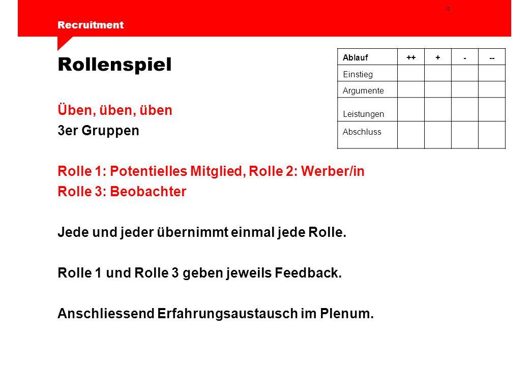 12 Recruitment Rollenspiel Üben, üben, üben 3er Gruppen Rolle 1: Potentielles Mitglied, Rolle 2: Werber/in Rolle 3: Beobachter Jede und jeder übernimmt einmal jede Rolle.