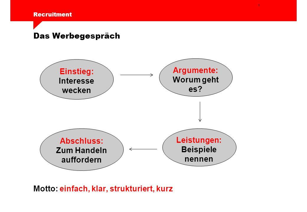 6 Recruitment Das Werbegespräch Motto: einfach, klar, strukturiert, kurz Einstieg: Interesse wecken Argumente: Worum geht es.
