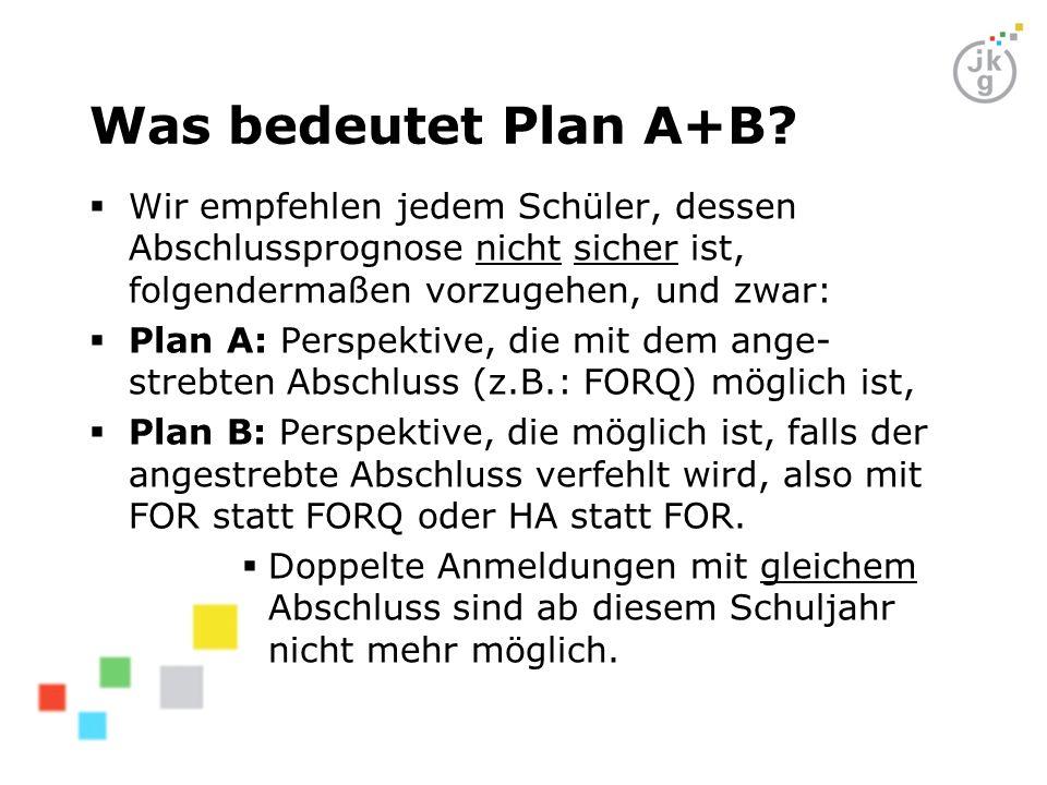 Was bedeutet Plan A+B?  Wir empfehlen jedem Schüler, dessen Abschlussprognose nicht sicher ist, folgendermaßen vorzugehen, und zwar:  Plan A: Perspe