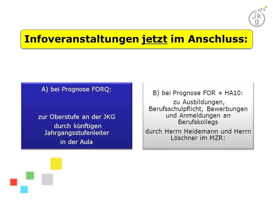 Infoveranstaltungen jetzt im Anschluss: A) bei Prognose FORQ: zur Oberstufe an der JKG durch künftigen Jahrgangsstufenleiter in der Aula B) bei Progno