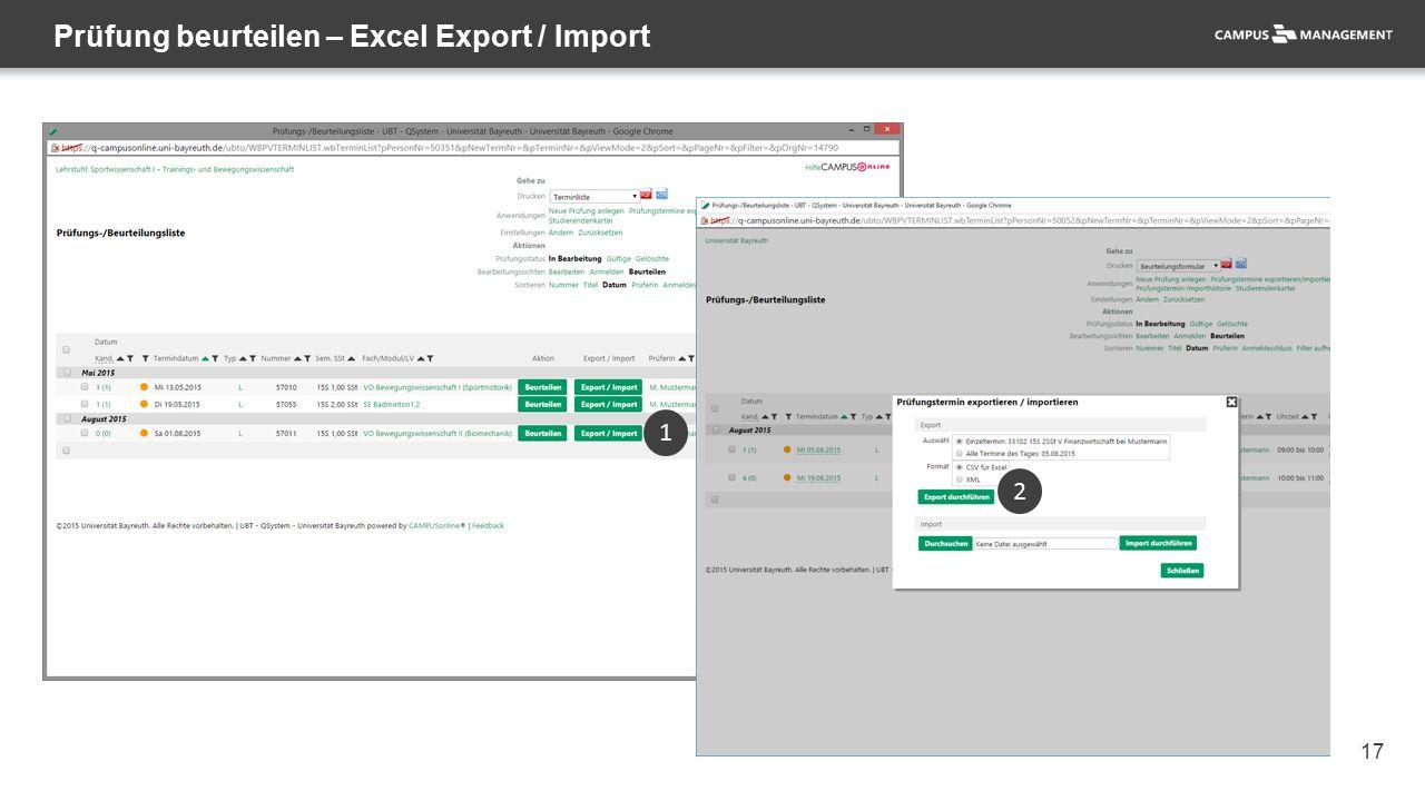 17 Prüfung beurteilen – Excel Export / Import 1 2