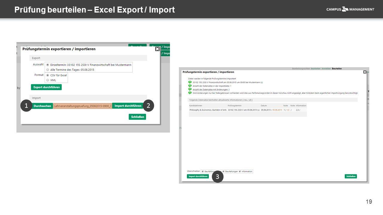 19 Prüfung beurteilen – Excel Export / Import 1 2 3