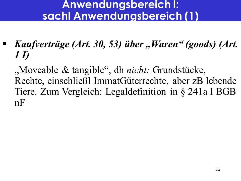 Anwendungsbereich I: sachl Anwendungsbereich (1)  Kaufverträge (Art.