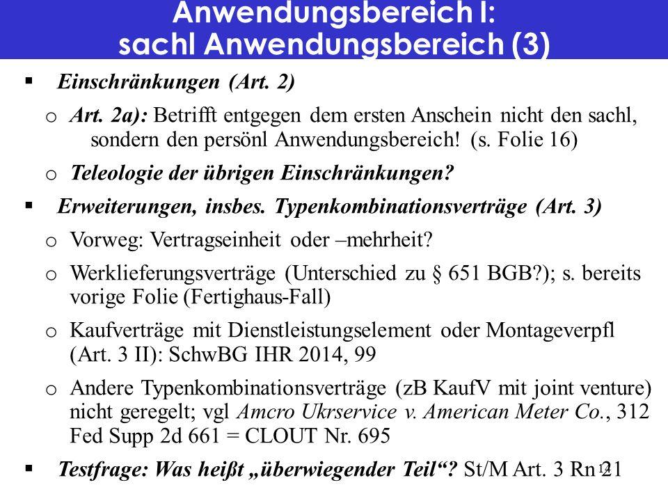 Anwendungsbereich I: sachl Anwendungsbereich (3)  Einschränkungen (Art.