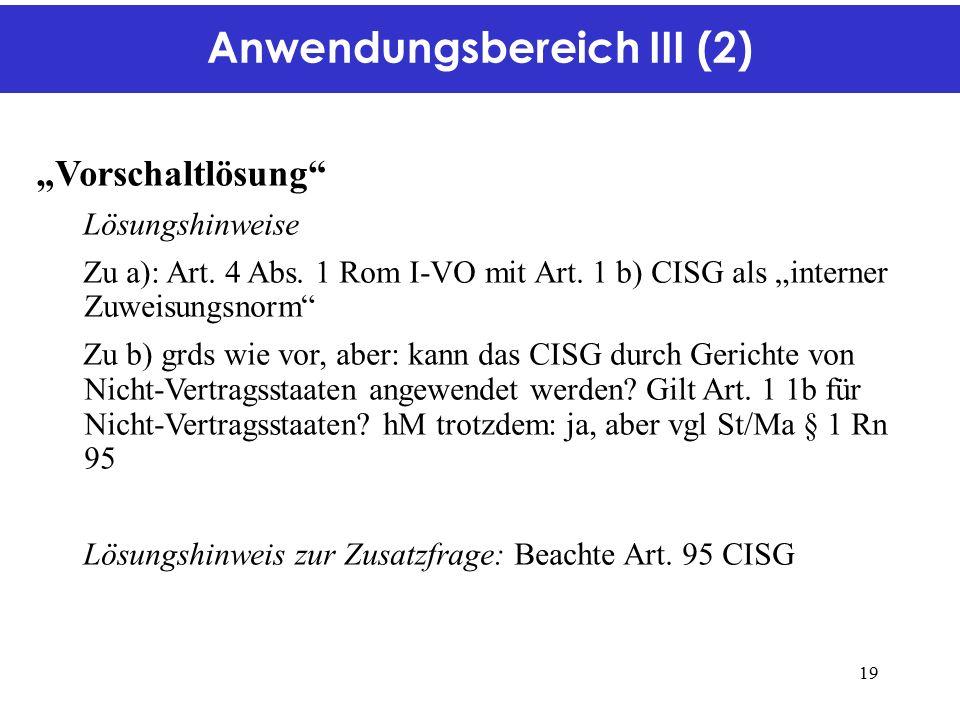 """Anwendungsbereich III (2) """"Vorschaltlösung Lösungshinweise Zu a): Art."""