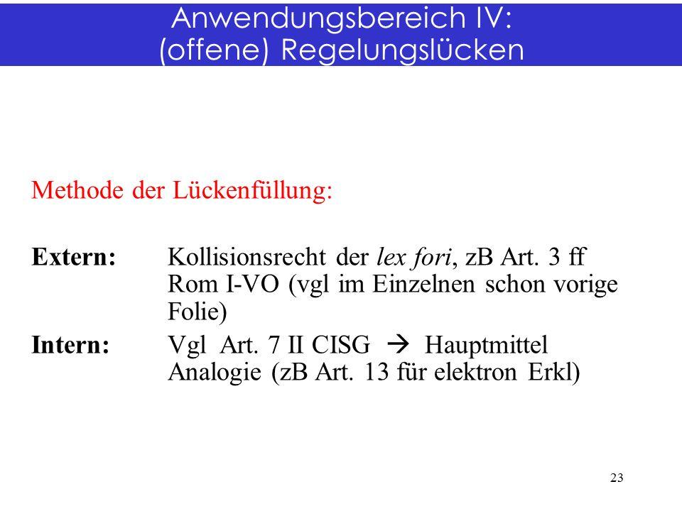 Anwendungsbereich IV: (offene) Regelungslücken Methode der Lückenfüllung: Extern: Kollisionsrecht der lex fori, zB Art.