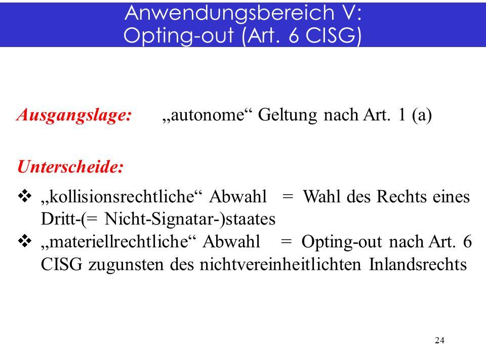 "Anwendungsbereich V: Opting-out (Art. 6 CISG) Ausgangslage:""autonome Geltung nach Art."