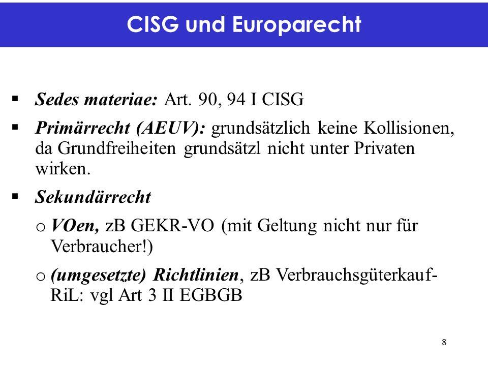 CISG und Europarecht  Sedes materiae: Art.