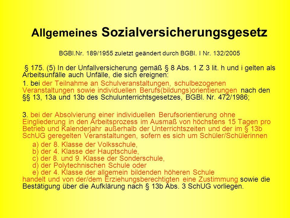 Allgemeines Sozialversicherungsgesetz BGBl.Nr. 189/1955 zuletzt geändert durch BGBl.
