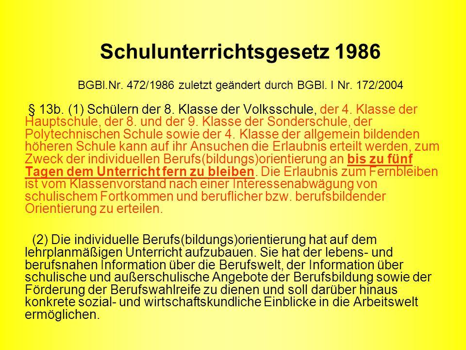Schulunterrichtsgesetz 1986 BGBl.Nr. 472/1986 zuletzt geändert durch BGBl. I Nr. 172/2004 § 13b. (1) Schülern der 8. Klasse der Volksschule, der 4. Kl