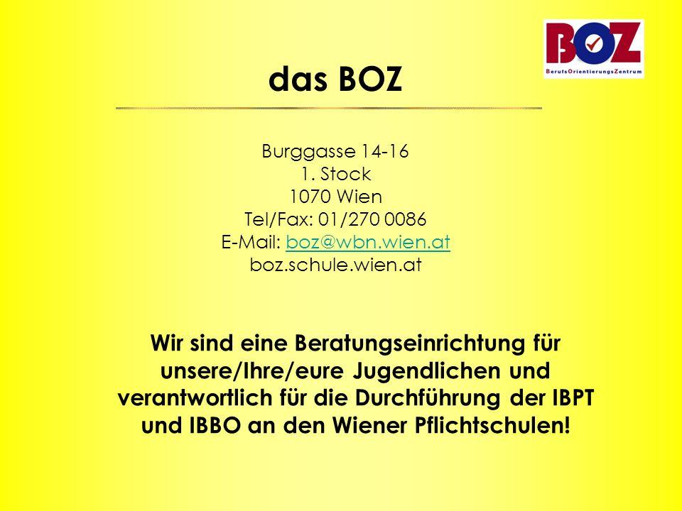 das BOZ Burggasse 14-16 1. Stock 1070 Wien Tel/Fax: 01/270 0086 E-Mail: boz@wbn.wien.at boz.schule.wien.atboz@wbn.wien.at Wir sind eine Beratungseinri