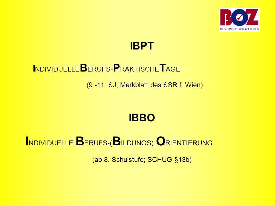 IBPT I NDIVIDUELLE B ERUFS- P RAKTISCHE T AGE (9.-11. SJ; Merkblatt des SSR f. Wien) IBBO I NDIVIDUELLE B ERUFS-( B ILDUNGS) O RIENTIERUNG (ab 8. Schu