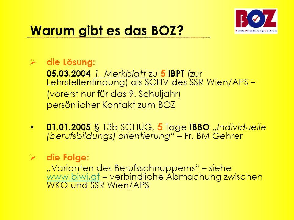  die Lösung: 05.03.2004 1. Merkblatt zu 5 IBPT (zur Lehrstellenfindung) als SCHV des SSR Wien/APS – (vorerst nur für das 9. Schuljahr) persönlicher K