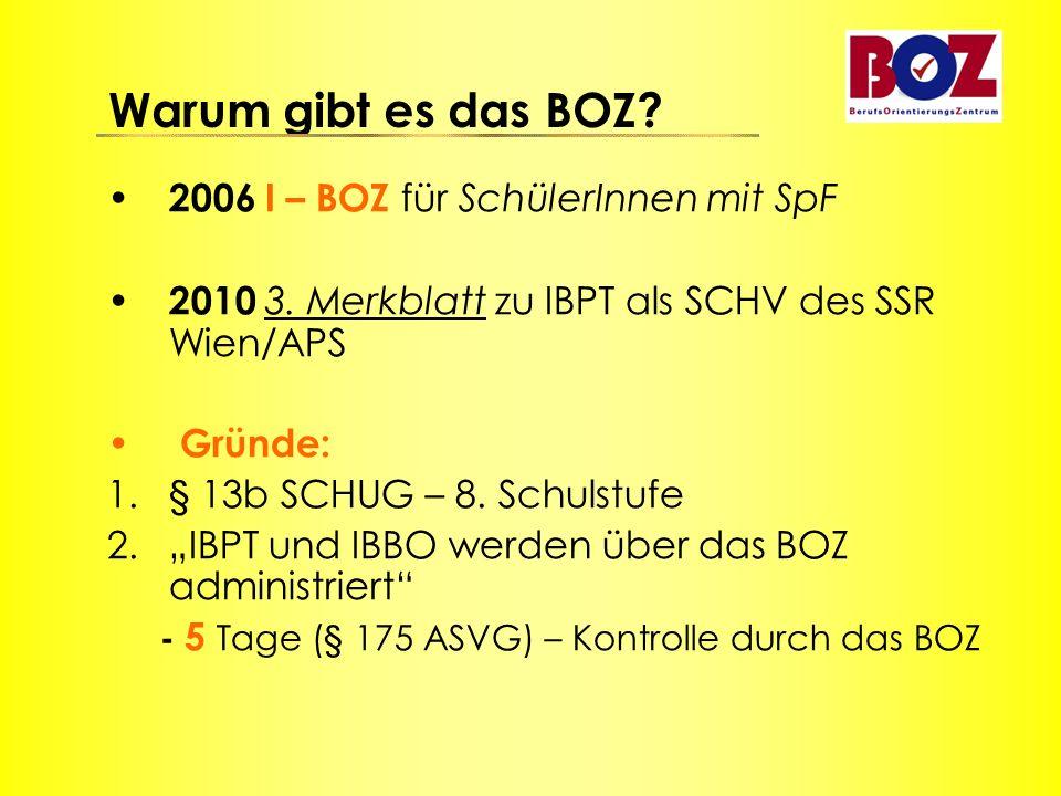 Warum gibt es das BOZ? 2006 I – BOZ für SchülerInnen mit SpF 2010 3. Merkblatt zu IBPT als SCHV des SSR Wien/APS Gründe: 1.§ 13b SCHUG – 8. Schulstufe