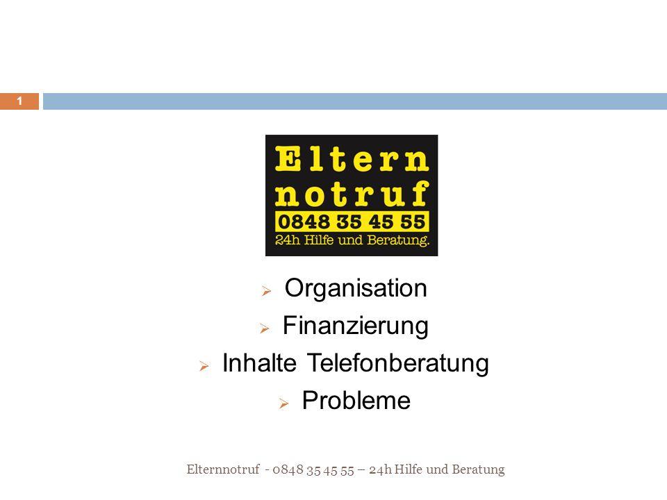  Organisation  Finanzierung  Inhalte Telefonberatung  Probleme Elternnotruf - 0848 35 45 55 – 24h Hilfe und Beratung 1