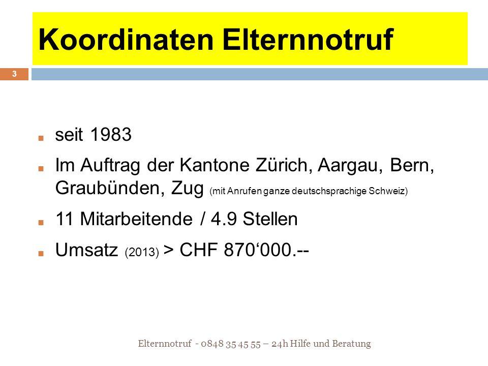Koordinaten Elternnotruf ■ seit 1983 ■ Im Auftrag der Kantone Zürich, Aargau, Bern, Graubünden, Zug (mit Anrufen ganze deutschsprachige Schweiz) ■ 11
