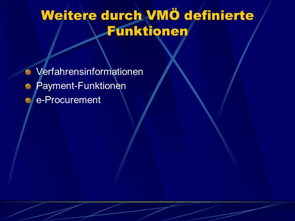 Weitere durch VMÖ definierte Funktionen Verfahrensinformationen Payment-Funktionen e-Procurement