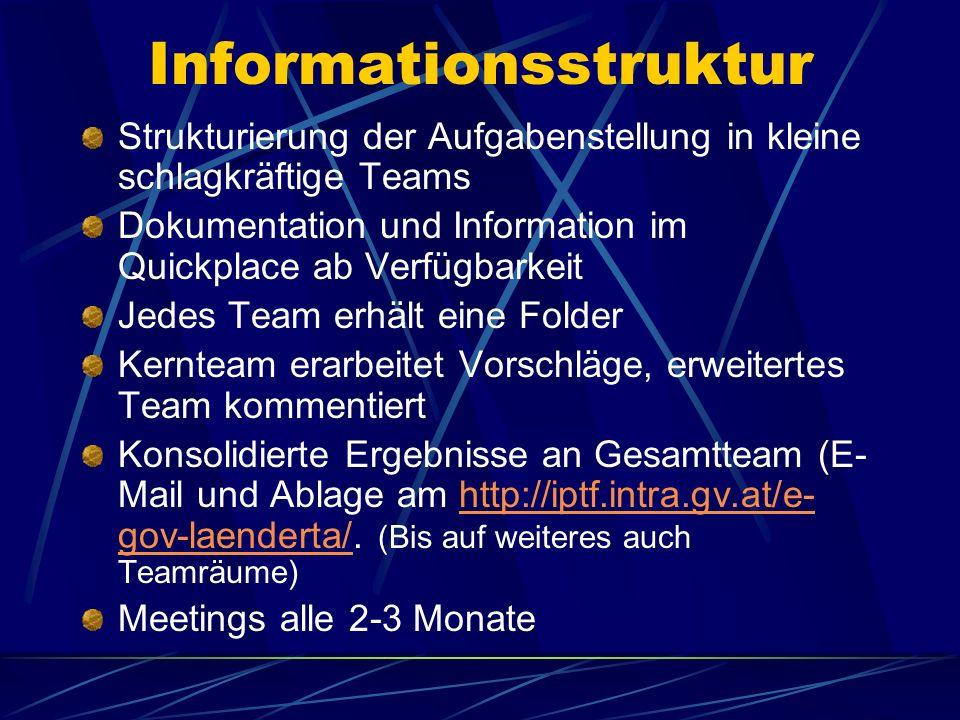Informationsstruktur Strukturierung der Aufgabenstellung in kleine schlagkräftige Teams Dokumentation und Information im Quickplace ab Verfügbarkeit J