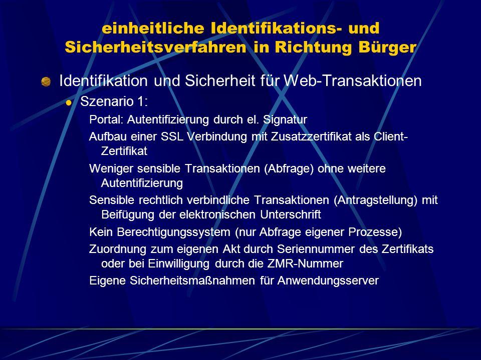 einheitliche Identifikations- und Sicherheitsverfahren in Richtung Bürger Identifikation und Sicherheit für die E-Mail- Kommunikation Szenario 1: Rechtliche relevante Übermittlung durch den Bürger erfordern signierte Dokumente Verschlüsselung der Dokumente mit dem public Key des Empfängers möglich.