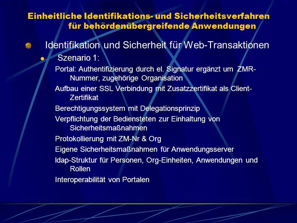 Einheitliche Identifikations- und Sicherheitsverfahren für behördenübergreifende Anwendungen Identifikation und Sicherheit für Web-Transaktionen Szena