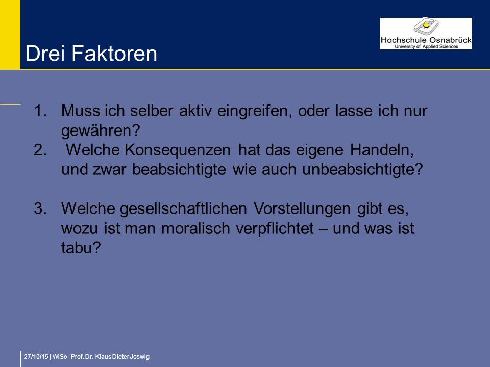 27/10/15 | WiSo Prof. Dr. Klaus Dieter Joswig Drei Faktoren 1.Muss ich selber aktiv eingreifen, oder lasse ich nur gewähren? 2. Welche Konsequenzen ha