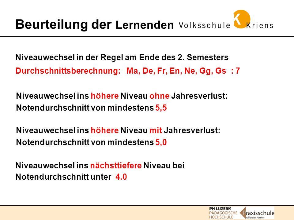 Beurteilung der Lernenden Niveauwechsel in der Regel am Ende des 2.