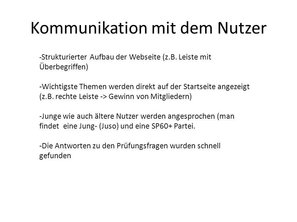 Kommunikation mit dem Nutzer - Strukturierter Aufbau der Webseite (z.B.