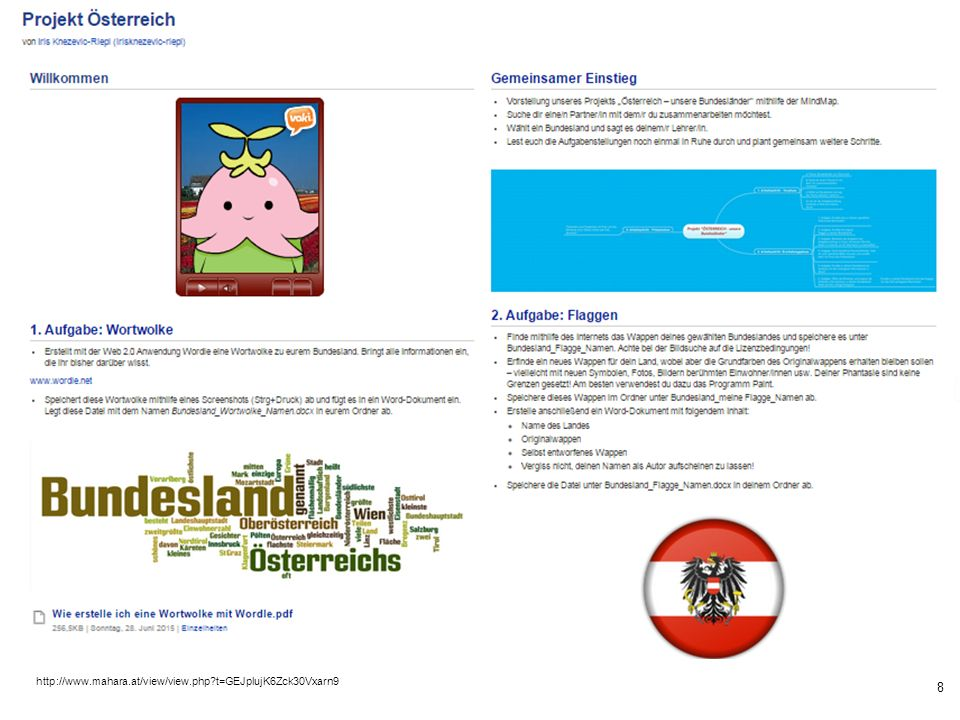 8 http://www.mahara.at/view/view.php t=GEJplujK6Zck30Vxarn9