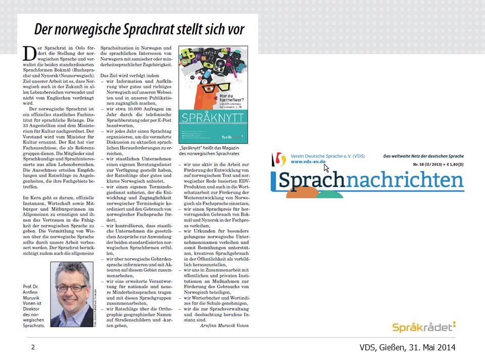 VDS, Gießen, 31. Mai 2014 2
