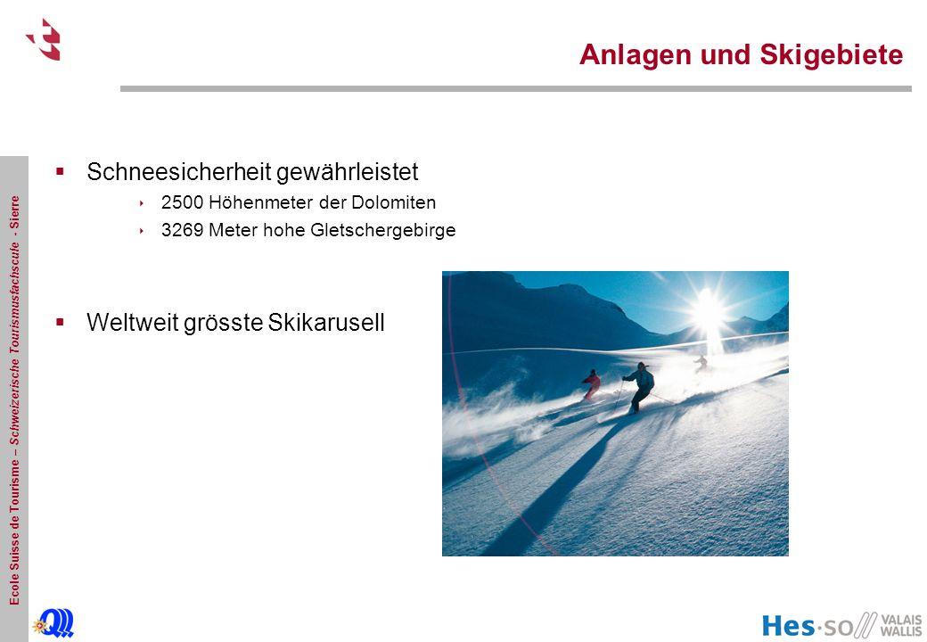 Ecole Suisse de Tourisme – Schweizerische Tourismusfachscule - Sierre Anlagen und Skigebiete  Schneesicherheit gewährleistet  2500 Höhenmeter der Dolomiten  3269 Meter hohe Gletschergebirge  Weltweit grösste Skikarusell