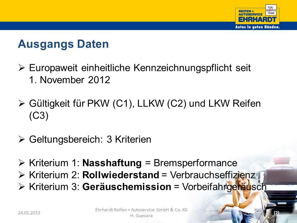 Ausgangs Daten  Europaweit einheitliche Kennzeichnungspflicht seit 1. November 2012  Gültigkeit für PKW (C1), LLKW (C2) und LKW Reifen (C3)  Geltun