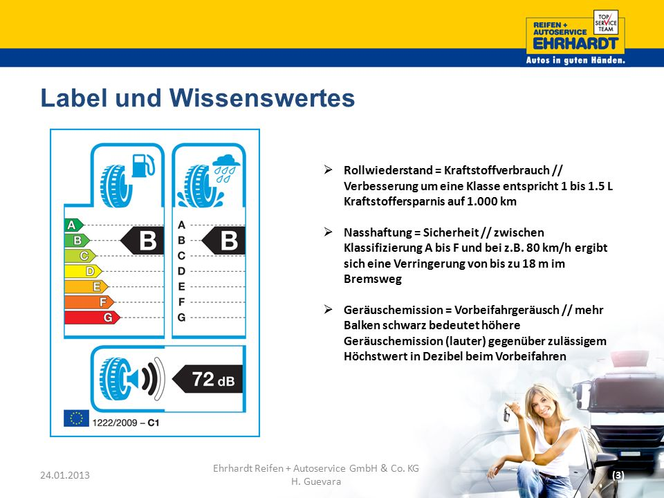 Label und Wissenswertes 24.01.2013(3) Ehrhardt Reifen + Autoservice GmbH & Co. KG H. Guevara  Rollwiederstand = Kraftstoffverbrauch // Verbesserung u