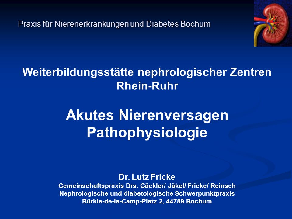 Praxis für Nierenerkrankungen und Diabetes Bochum Weiterbildungsstätte nephrologischer Zentren Rhein-Ruhr Akutes Nierenversagen Pathophysiologie Dr. L