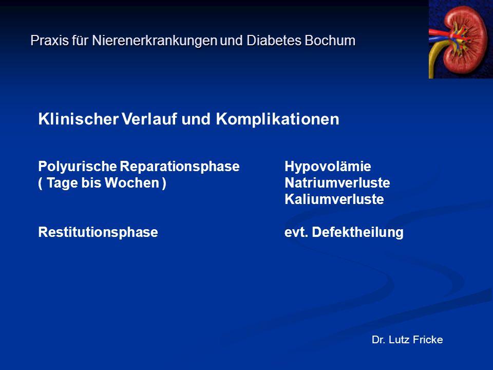Praxis für Nierenerkrankungen und Diabetes Bochum Dr. Lutz Fricke Klinischer Verlauf und Komplikationen Polyurische ReparationsphaseHypovolämie ( Tage