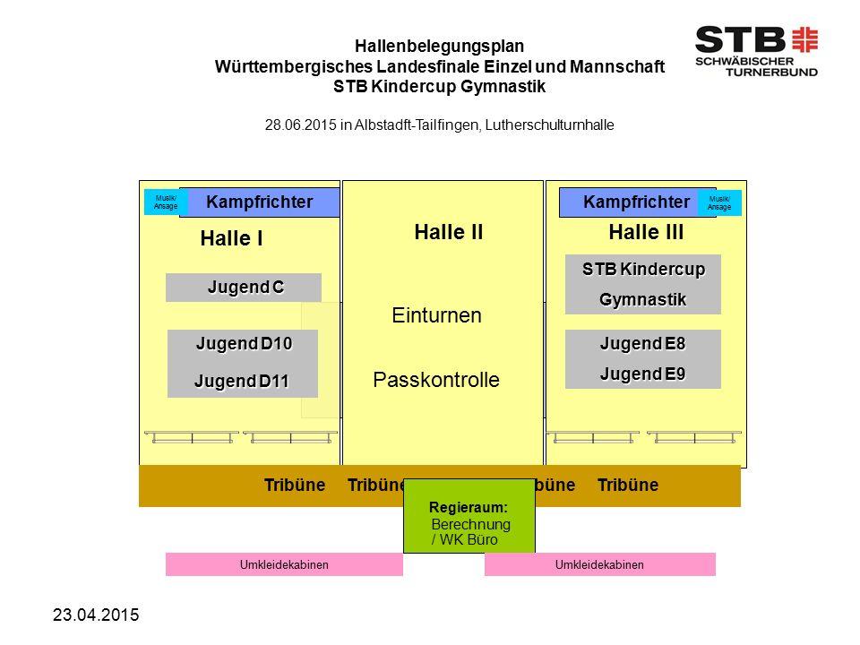 23.04.2015 Hallenbelegungsplan Württembergisches Landesfinale Einzel und Mannschaft STB Kindercup Gymnastik 28.06.2015 in Albstadft-Tailfingen, Luther