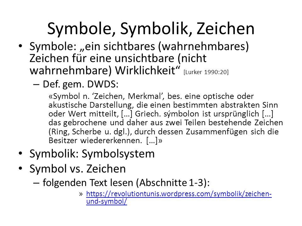 """Symbole, Symbolik, Zeichen Symbole: """"ein sichtbares (wahrnehmbares) Zeichen für eine unsichtbare (nicht wahrnehmbare) Wirklichkeit"""" [Lurker 1990:20] –"""