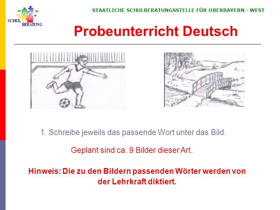 STAATLICHE SCHULBERATUNGSSTELLE FÜR OBERBAYERN ‑ WEST 1.
